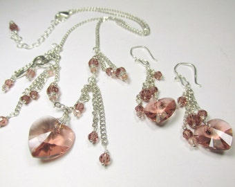 Blush Rose Swarovski Heart Asymetrical Fringed Necklace and Earring Set on Sterling Silver (NS-SS1610)