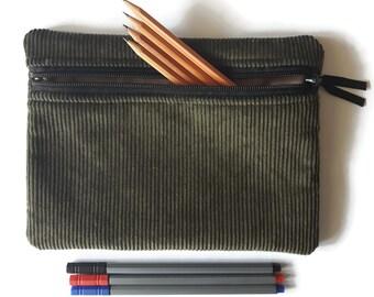 Pencil case, zipper pouch, cosmetic bag, Olive green corduroy boys pencil case