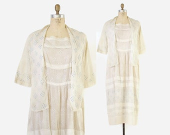 Vintage EDWARDIAN DRESS / 1910s Embroidered Ivory & Blue Cotton Day Dress L - XL Plus Size