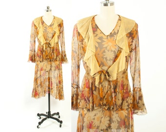 Vintage 20s DRESS & JACKET Set / 1920s Sheer Floral Print Silk Chiffon Sleeveless Dress and Ruffled Jacket XS