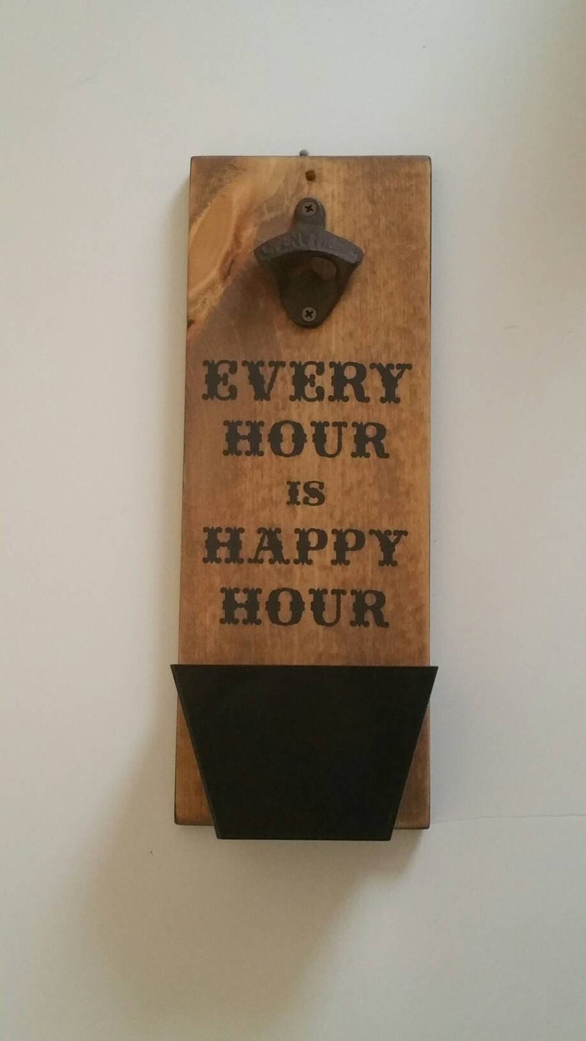 bottle opener and cap catcher wall mount wood sign man cave. Black Bedroom Furniture Sets. Home Design Ideas