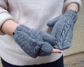 Grey Knitted Convertible Cable Mittens Unisex Men Women