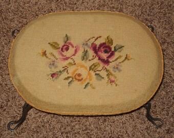 Vintage Foot Stool - Tapestry - Iron Legs