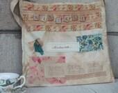 Shabby chic bag - Shabby cottage style Market Bag - Pink fabric - stamped trim - tote bag - market bag - Mademoiselle stamp - embellishments