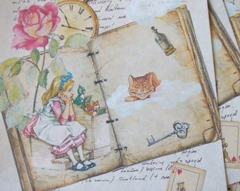 Alice in Wonderland notecards - collage - journal - scrapbooking - painted notecards blank notecards - embellishments