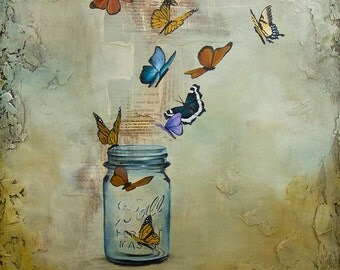 Butterfly Print, Ball Jar Art, Releasing Butterflies, titled Released, Limited Edition Paper Print