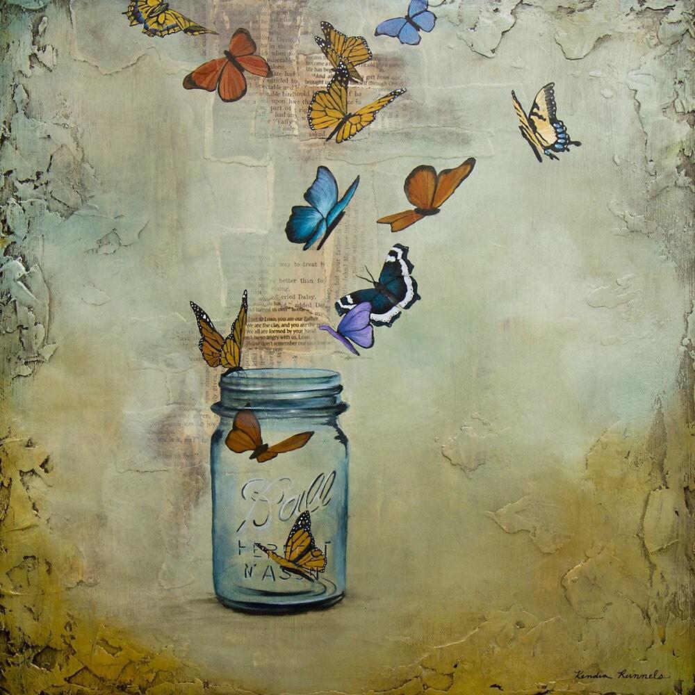 butterfly print ball jar art releasing butterflies titled
