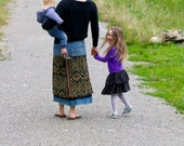 Layered, long skirt made with recycled denim and ikat - GENUINE IKAT