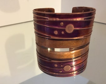 Copper Circles and Lines Cuff Bracelet 2