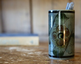 Vintage Studio-Style Ceramic Pencil Cup / Hand Painted Signed Mexico