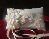 Ivory Rectangular Ring Pillow Ring Bearer Unbleached Cotton Lace Bridal Satin Beads