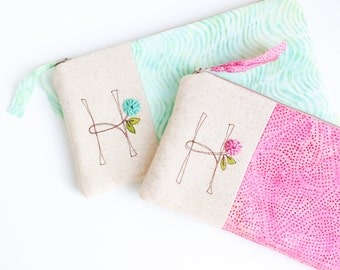 Monogram Clutch Letter H, Summer Fashion Accessory, Personalized Zipper Pouch, Unique Gift for Women READY TO SHIP