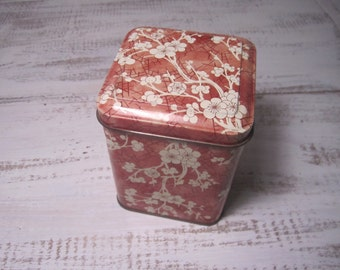 Daher vintage floral hinged lid tin cherry blossom storage stash trinket box Made in England