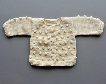 Newborn Baby Girls Boys Hand knitted Wool Cardigan Sweater Natural Ivory white popcorn bobbles Baptism wedding  0-3-6-9-12-18-24 months 2T