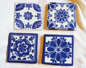 Talavera Coasters with Non-Skid Finish, Blue Collection #2