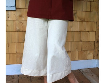 Organic Hemp/cotton Gauchos, wide leg Capris