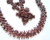 2 Apple Seed Necklaces Floral Vintage Boho Hippie 60s