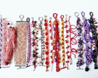 Beadwork Bracelets Wholesale Lot of 17 Pink, Red & Purple Destash SALE