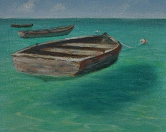 Original tropical Caribbean seascape painting of old moored boats on shallow water (Free Shipping)