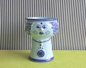 Vintage East German Pottery Figurine Vase or Planter by VEB Haldensleben in Pale BLue