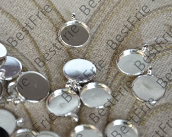 12 pcs of  Silver Plated Round Cabochon Pendant Base (Cabochon size 12mm),Pendant findings,pendant base jewelry findings