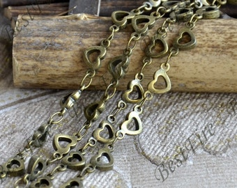 Antique Bronze Heart Link Chain,metal chains,brass chain,jewelry findings
