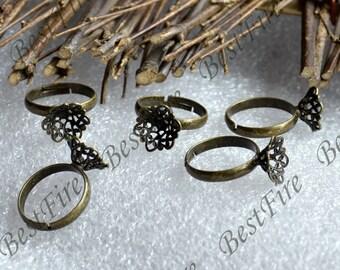 12 pcs Antique Brass filigree Pad Open Adjustable ring,flower Base Cabochon Size:12mm,Ring base, filigree Base findings,ring finding