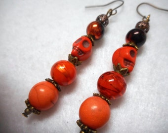Halloween Earrings, Halloween Jewelry, Skull Earrings, Skull Jewelry, Orange Earrings, Orange Jewelry, Bronze Earrings, Bronze Jewelry