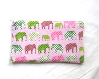 Pink Elephants Fabric Zipper Pouch / Pencil Case / Make Up Bag