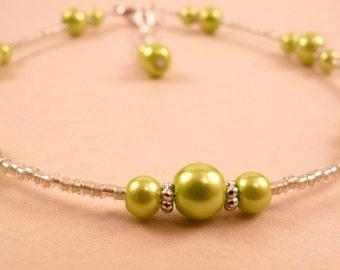 Pearl Anklet Ankle Bracelet Green Pearl Anklet Beaded Anklet Beaded Jewelry Pearl Jewelry Lime Green Jewelry Silver Jewelry Silver Anklet