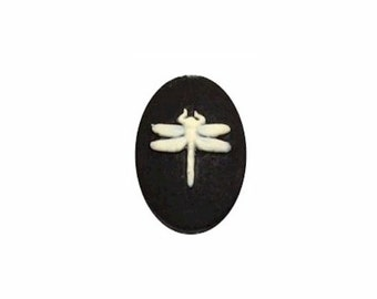 18x13mm Dragonfly  Resin Cameo Black Ivory loose cabachon from cameojewelrysupply  jewelry finding 903x