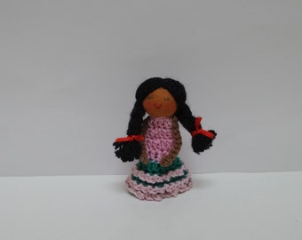 Girl Finger Puppet with Long Braided Hair