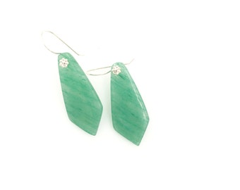 Green Aventurine Gemstone Earrings, Statement Earrings, Gemstone Jewelry, Elegant Earrings, Statement Jewelry