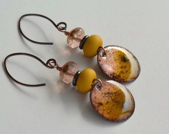 Enameled Copper Disks, Torch Fired, Speckled,  Peach Glass and Ochre Lampwork Earrings