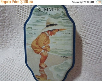 15% SALE Vintage Summer Good Housekeeping Tin Container with 1918 Advertising Collectible Yellow Blue