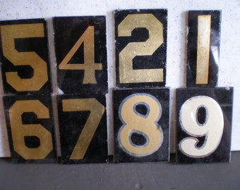 Vintage Industrial Glass Numbers