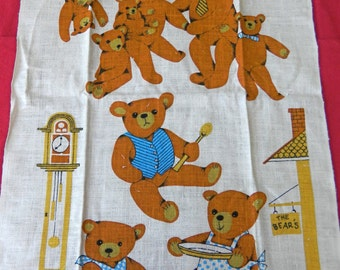 Sweet Vintage Kay Dee TEDDY BEAR Dish TOWEL Linen Wall Hanging Cottage Decor Farmhouse