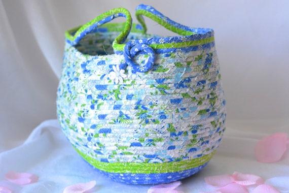 Tote Bag Basket, Handmade Coiled Fiber Basket,  Lovely Sky Blue Tote Bag, Knitting Project Bag, Gift Basket, Blue Storage Basket