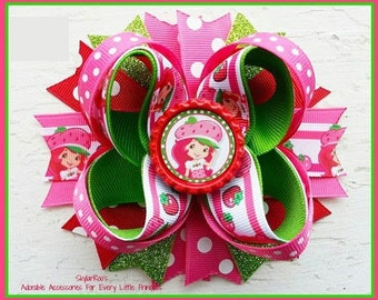 Strawberry Shortcake Inspired Hair Bow Clip