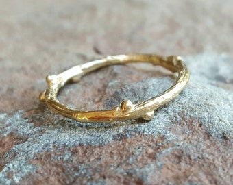 Womens Wedding Band 14K Gold Wedding Band Twig Wedding Band 14K Gold Twig Ring Womens Band 14K Gold Twig Band Thin 14K Gold Band Womens Gift