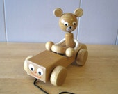 Wooden Pull Toy - Mouse in Car - Vintage Pull Along Toy