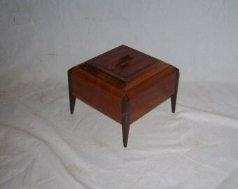 Cherry, Walnut  and Bubinga Legged Box