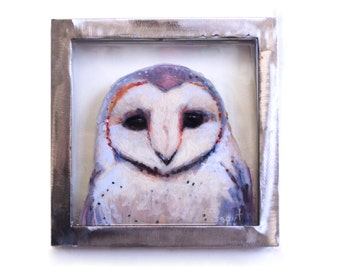 Art Original painting of Barn Owl on glass with industrial steel frame