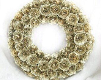 """14"""" Jane Austen Pride and Prejudice  or Harry Potter recycled book page spiral paper roses wreath"""