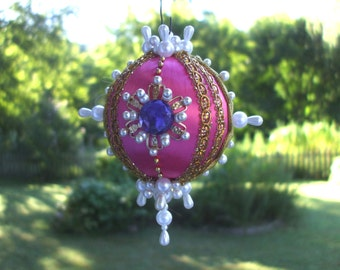 Handmade Pink Christmas Ornament Pearls Faceted Blue Gems Gold Beads Jewels Gold Trims Satin Ball OOAK Victorian