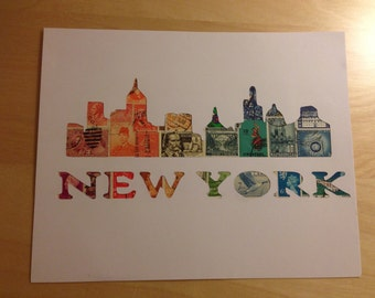 Postage Stamp Art - New York City - Used Postage Stamps - Framed Postage Stamp Art - Wall Art - New York Cityscape