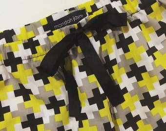 Yellow & Black Crosses - Womens Mini Sleep Shorts