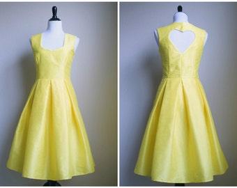 Heart Bridesmaids Dress - Silk Dupioni Box Pleat Skirt - custom color, adjustments and size