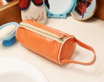 Vintage Travel Bag Vinyl Tubular Purse 1960s Mod Orange Handbag Makeup Bag Toiletries Shaving Kit Flight Hiking Carry On Boho Style