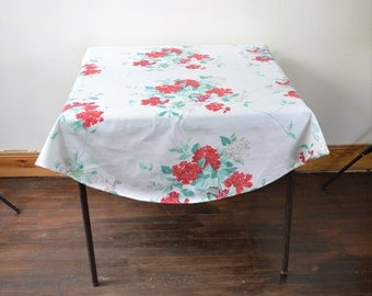 Small Round Vintage Tablecloth White Cotton with Red Flowers Green Leaves Cottage Chic Vintage Home